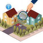 vector image of a house with a large magnifying glass over it