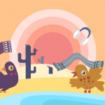 Vector pigeons throwing off gloves and scarves in the desert