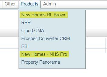 Screenshot of Flexmls products tab