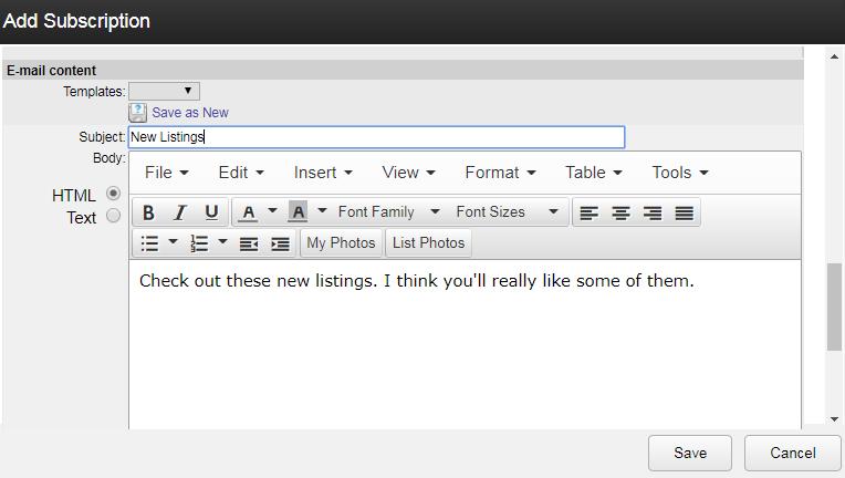 screenshot of add subscription field in Flexmls