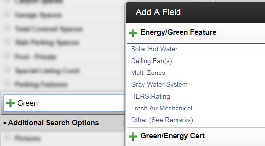 screenshot of green fields search in flexmls