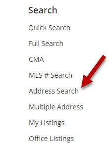 screen shot of Flexmls search menu