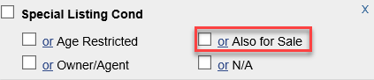 Screenshot of Special Listing Condition fields in Flexmls