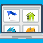 Rendering of four listing photos on a laptop screen. One photo is marked with a blue flag.