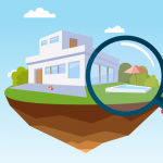 Image of a house with a private pool in the backyard. Large magnifying glass is being held over the private pool.