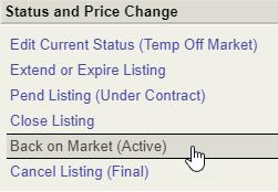 Back on Market Link Flexmls