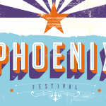 Phoenix festival over blue background and AZ state flag in purple and orange