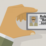 vector of man holding a generic id
