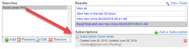 Screenshot of Flexmls subscriptions turned on