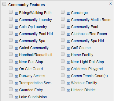 List of community features from flexmls