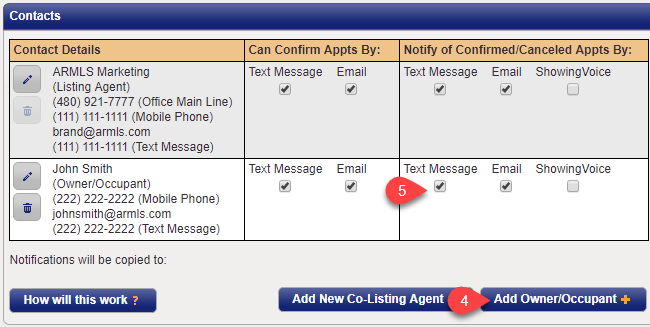 Screenshot inside ShowingTime demonstrating where to add an Owner/Occupant and how to set them up to be notified of confirmed and cancelled appointments.