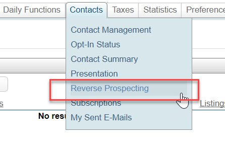 Under Contacts in Flexmls' main menu, Reverse Prospecting has been selected and outlined with a red box.