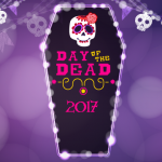 "Drawing of cartoon casket emblazoned with a sugar skull and ""Day of the Dead 2017""."
