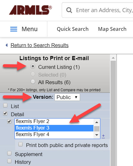 Screenshot showing what to select on the Listings to Print or E-mail page.