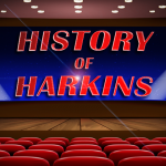 vector movie theater with History of Harkins on the curtain