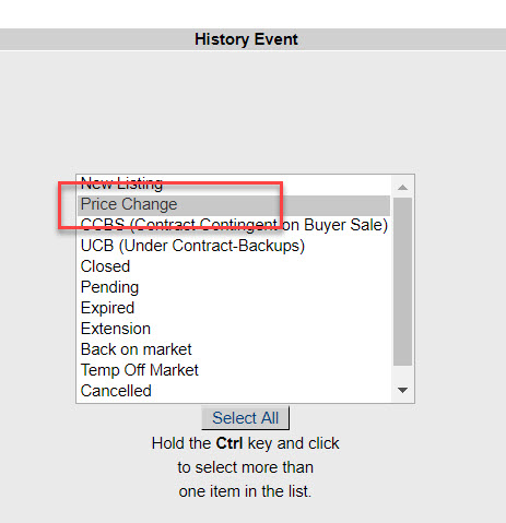 "Screenshot of the ""History Event"" section of the Hot Sheet Inquiry page. ""Price Change"" under History Event has been highlighted by a red rectangle."