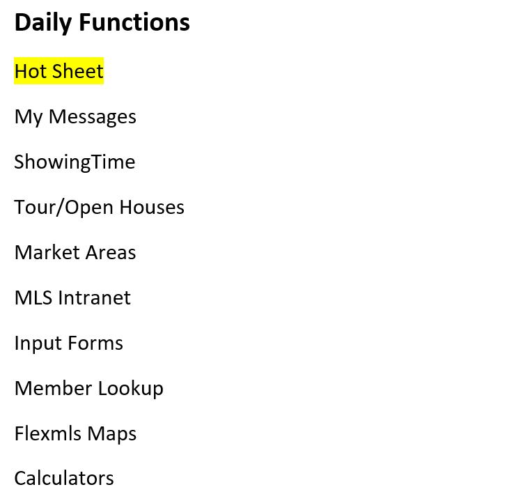 Screenshot of Daily functions tab in Flexmls