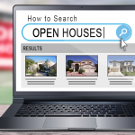 "Image of a laptop screen displaying a ""search"" for Open Houses."