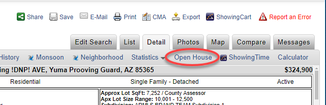 Screenshot showing how an Open House is displayed on a listing's Detail tab.