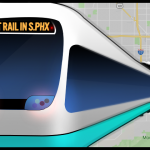 A train busting through a map of Phoenix