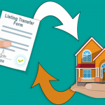 Image of a Listing Transfer Form in one hand and a house in the other hand.