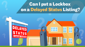 Image of a house with a Delayed Status sign in the front yard, with giant lockboxes peeking out from behind the house.