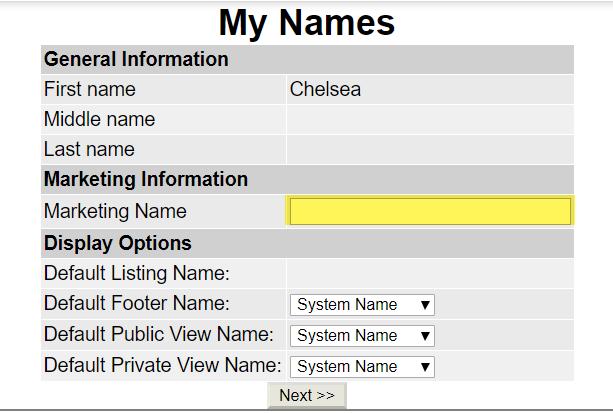 My Name screen in Flexmls