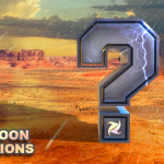 "Giant question mark in a desert monsoon with the ""Monsoon Questions"" title"