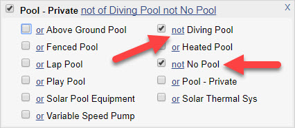 """Screen Shot of """"Pool - Private"""" field from a Quick Search with red arrows pointing to selected subfields for """"not Diving Pool"""" and """"not No Pool""""."""