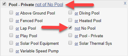 """Screenshot of """"Pool - Private"""" field from a Quick Search with """"not No Pool"""" selected. Red arrows point to """"Pool - Private not of No Pool"""" and """"not No Pool""""."""