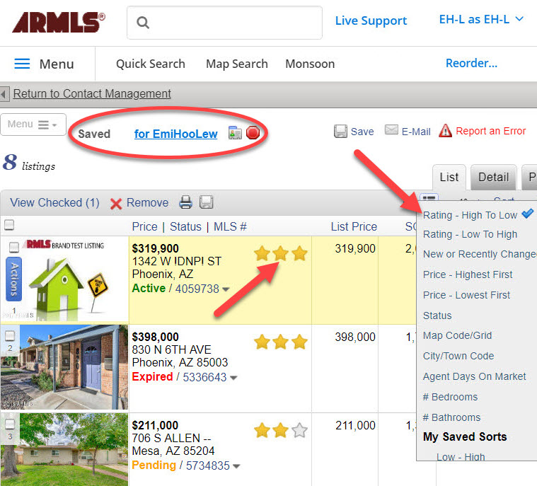 "Screenshot of the subscriber's view of a client's Saved portal listing collection when ""working on behalf of"" a client through Contact Management. Arrows point where to adjust the sort and up to three stars per listing."