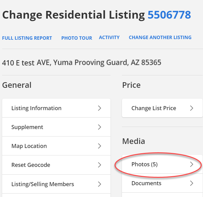 Screenshot of change screen in Flexmls with Photos section circled.