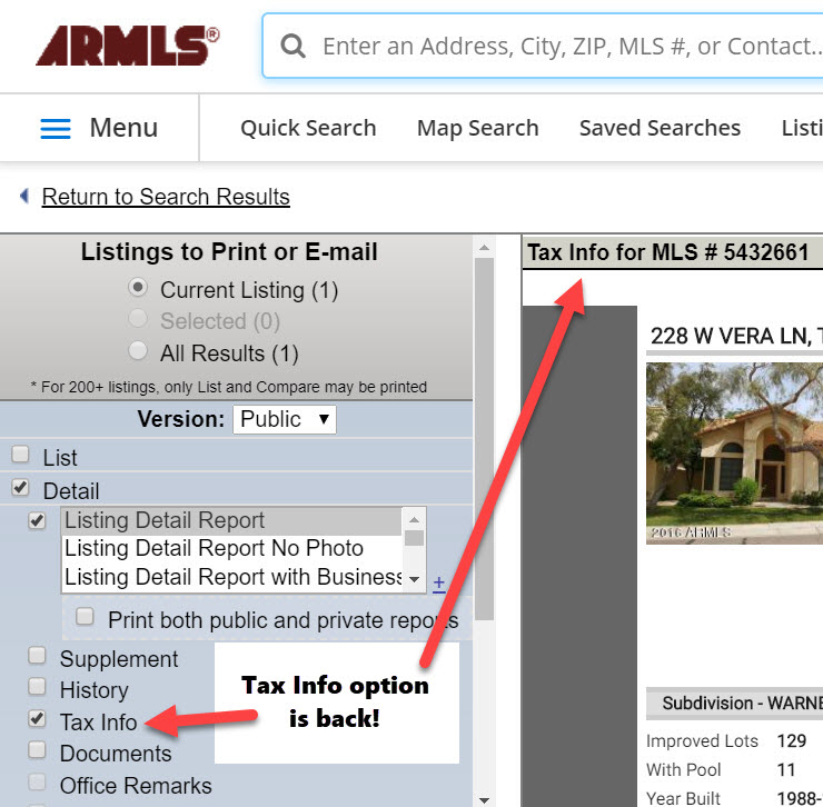 Screenshot of Listings to Print or E-mail page. Arrows call out the return of the Tax Info option.