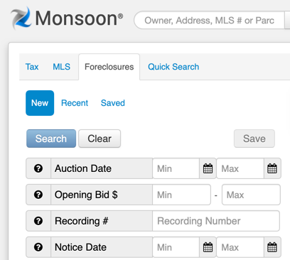 Screenshot of Monsoon Foreclosure Search