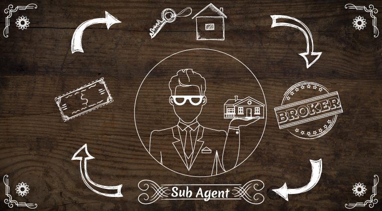 Vector image of man in sunglasses holding a house with housing symbols around him