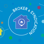 """Floating vector houses with """"Broker & Syndication"""" circling"""