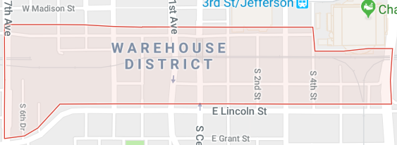 Map of where the warehouse district is located