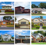 A grid of nine pictures of houses.
