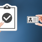 raster image of hands holding a vector clipboard with check mark on it and a vector blank ID