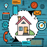 Vector house with home graphics surrounding it like telephone, lightbulb, envelope, clock etc