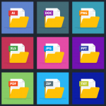 vector image of 3 rows of 5 files all in different colors with different file names