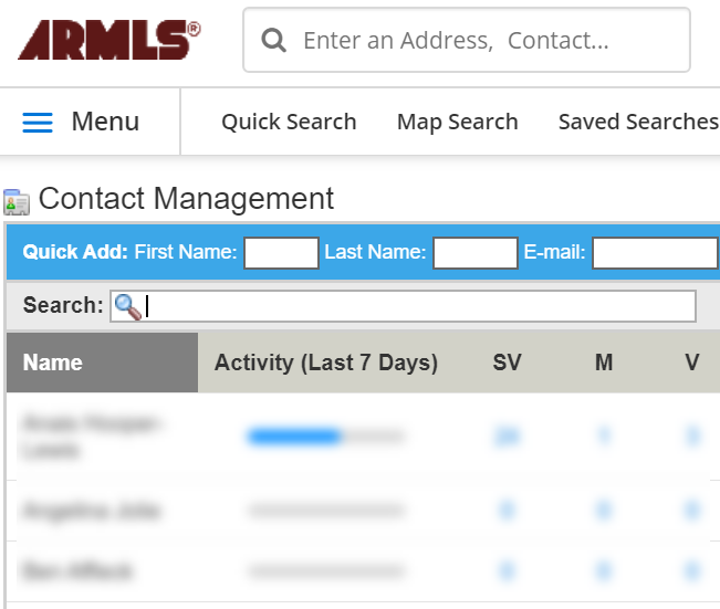 Screenshot of Contact Management screen.