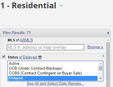 Flexmls menu showing delayed status