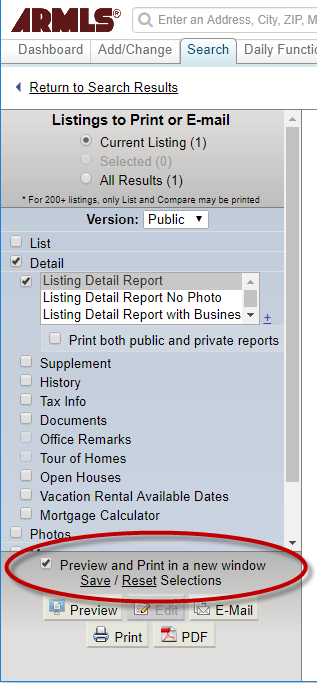Screenshot of Listings Print or Email screen