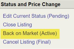 Flexmls screenshot of Status and Price Change screen