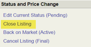 Screenshot of Close Listing menu with Close Listing option highlighted in yellow