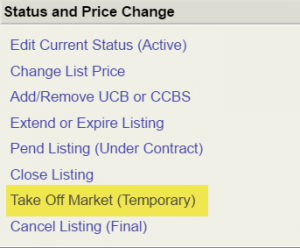 Screenshot of Close Listing menu with Take Off Market (Temporarily) option highlighted in yellow