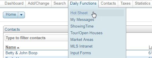 Screenshot of Flexmls hotsheet