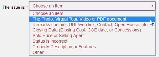 screenshot of report an error form