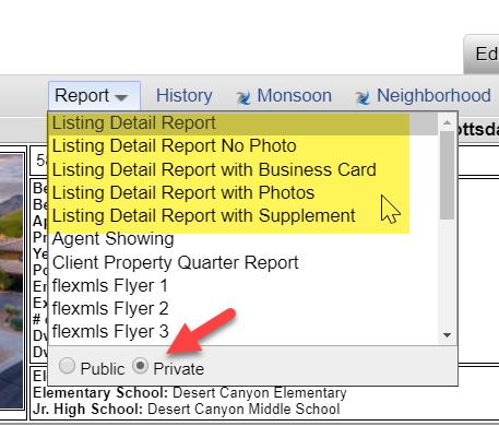 Screenshot of Flexmls listing report